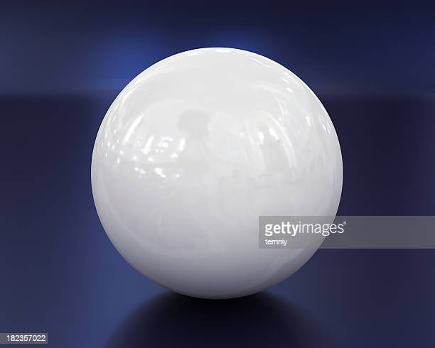 White ball on blue