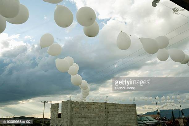 White balloons at wedding