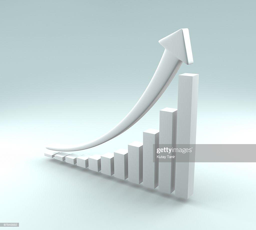 White bar graph with arrow : Stock Photo
