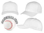 Set of white baseball caps with baseball