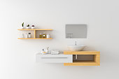 White basin on wooden shelf and mirror on wall, 3D rendering