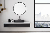 White bathroom interior with city view, sink and other objects. Mock up, 3D Rendering