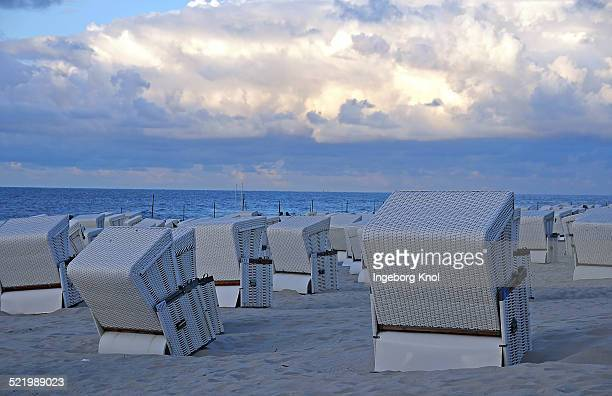 White beach chairs, North Sea, Wangerooge, East Frisian Islands, East Frisia, Lower Saxony, Germany