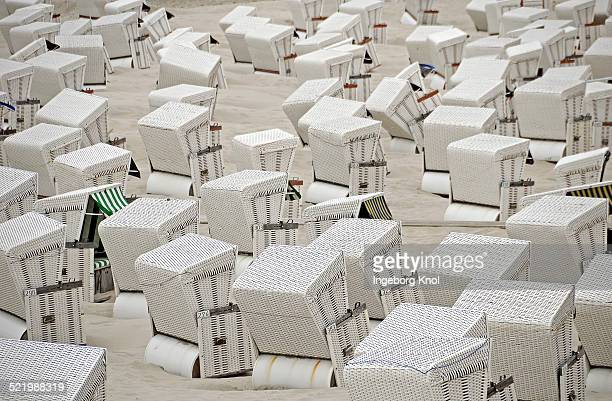 White beach chairs, Wangerooge, East Frisian Islands, East Frisia, Lower Saxony, Germany