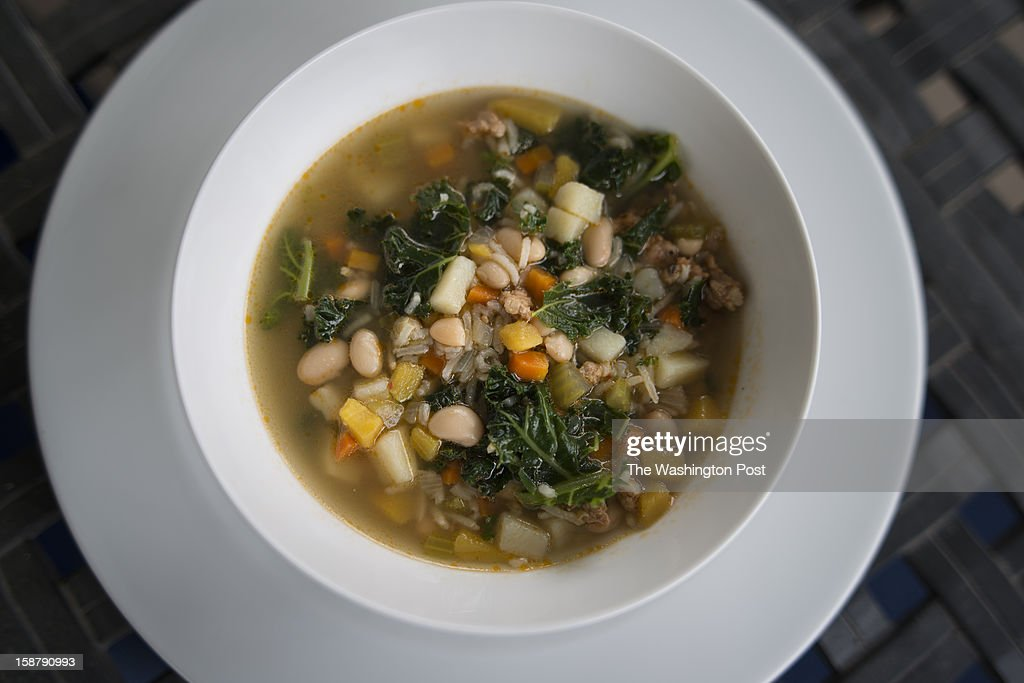 White bean, Kale and Andouille 'Minestrone' prepared by Stephanie Sedgwick on Thursday, December 20, 2012.