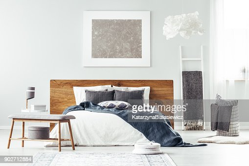 White bed in bedroom interior : Stock Photo