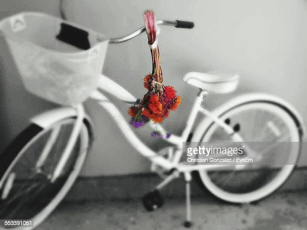 White Bike And Red Bouquet