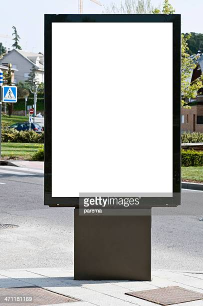 White billboard in an urban setting