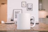 Mockup Styled Stock Product Image, white mug that you can add your custom design/quote to. Focus on the mug, rest of the image is soft.