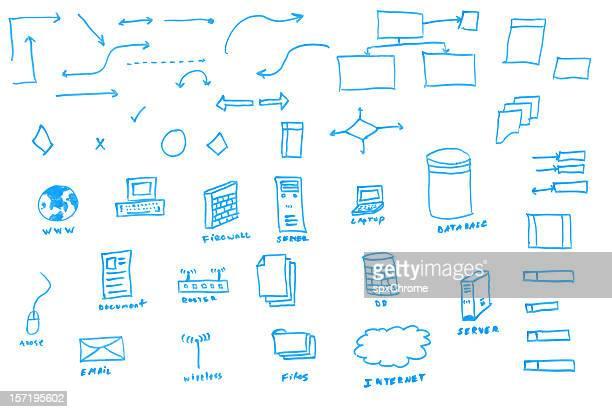 Whiteboard gezeichnet Daten Flowchart Symbole