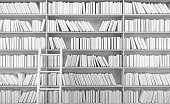 White bookshelf with books.3d rendering
