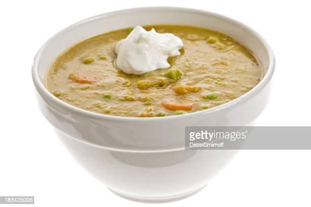 Bianco Ciotola piena di zuppa di Piselli secchi