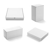 collection of  various white box, bag and package on white background. each one is shot separately