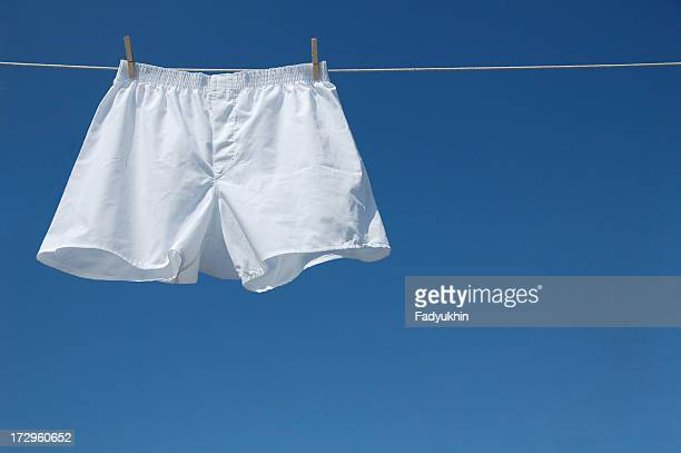 White boxer shorts clipped to clothesline against blue sky