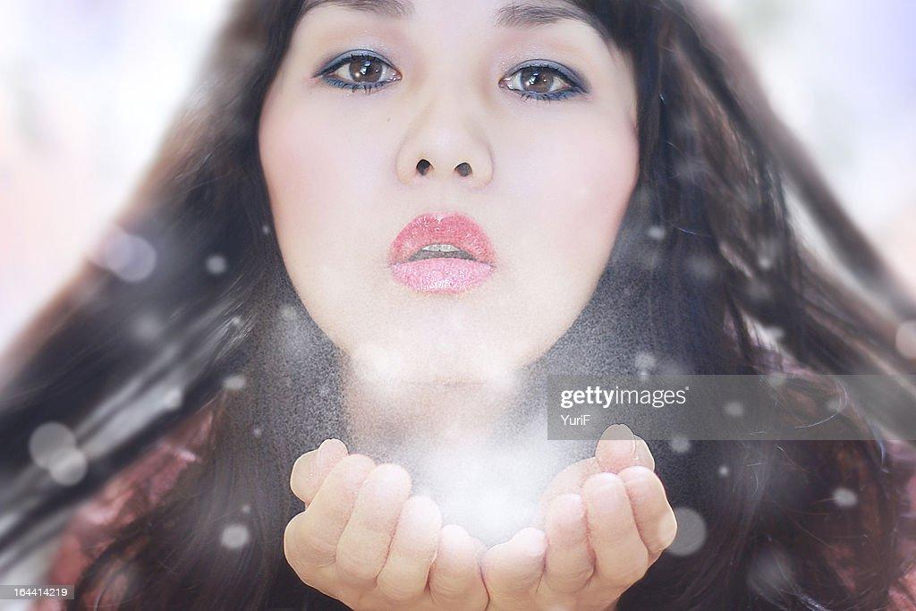 White breath and snow