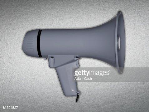 A white bullhorn