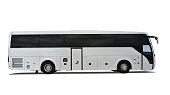 Side view of a new white coach bus isolated on white background with a drop shadow.