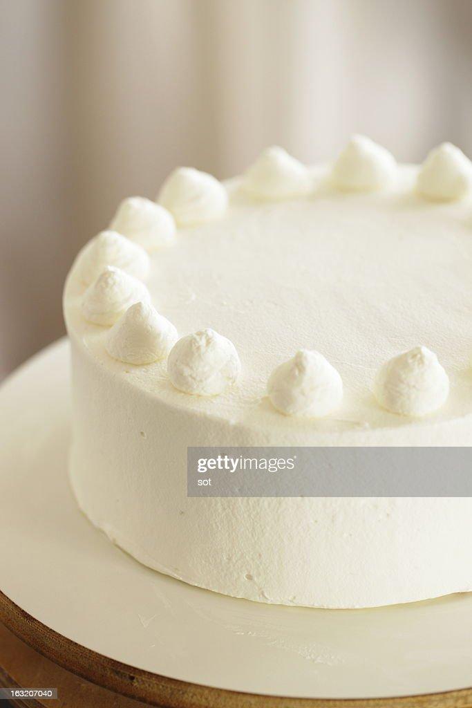 White cake decorated whipped cream : Stock Photo
