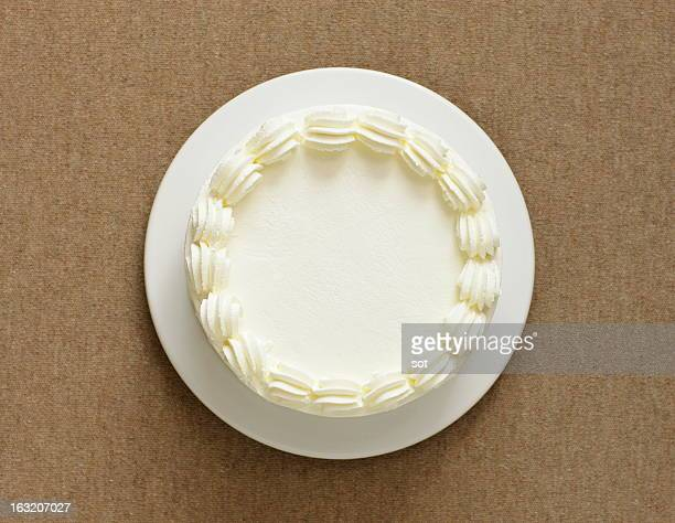 White cake decorated whipped cream,aerial view
