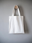 White Mock up Canvas Bag on Grey Background Hipster Fashion