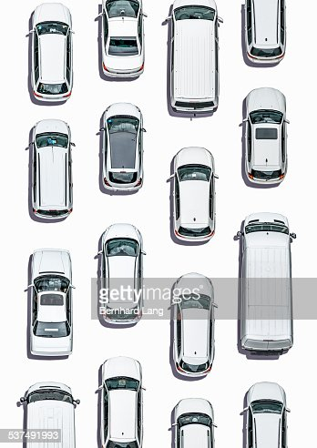 White cars on white ground, Aerial View