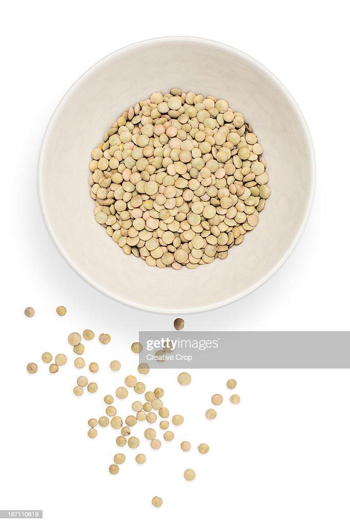 White ceramic bowl of Lentils