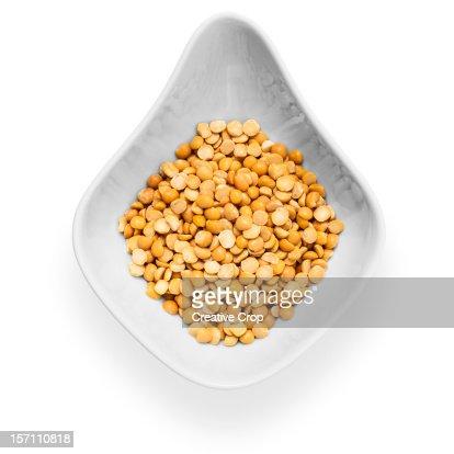 White ceramic bowl of split peas : Stock Photo