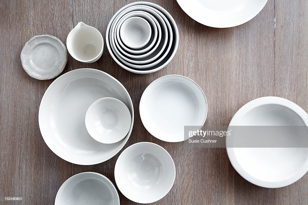 white ceramic + china serving bowls collection : Stock Photo