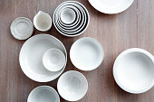 white ceramic + china serving bowls collection