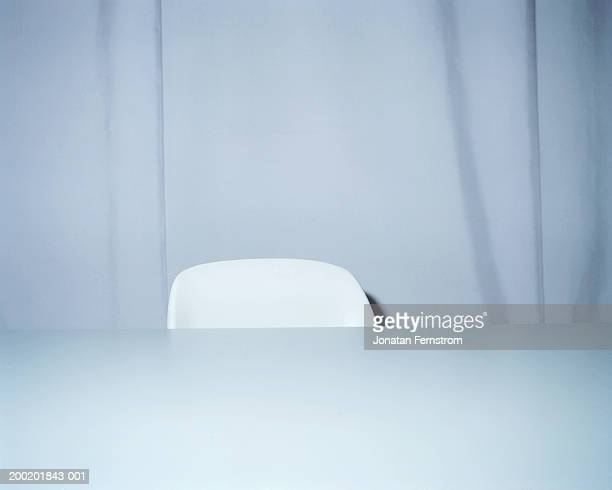 White chair behind desk, close-up