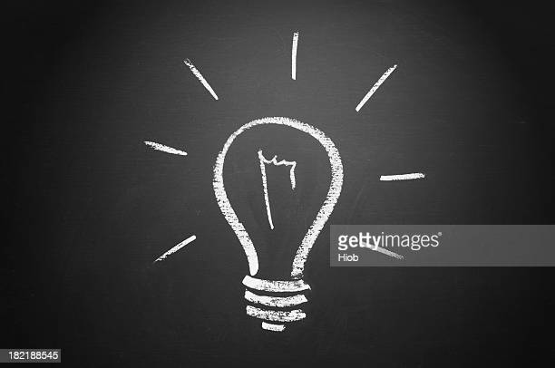 White chalk draw of bulb on blackboard