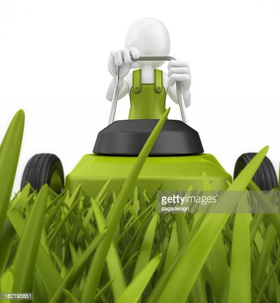 white character mowing lawn stripe