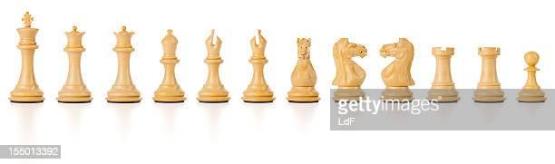 Set di scacchi bianco isolati con clipping path