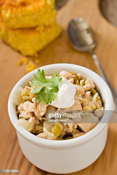White Chicken Chili and Cornbread