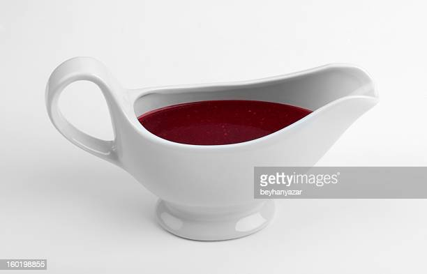 White china gravy boat isolated on white background.