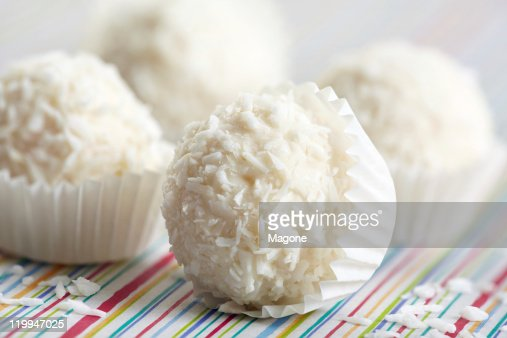 white chocolate and coconut truffles : Stock Photo