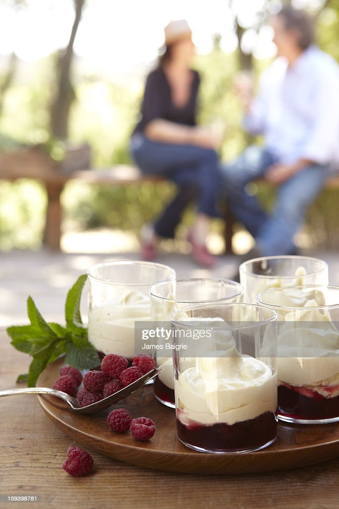 White Chocolate Mousse with Raspberry Sauce : Stock Photo