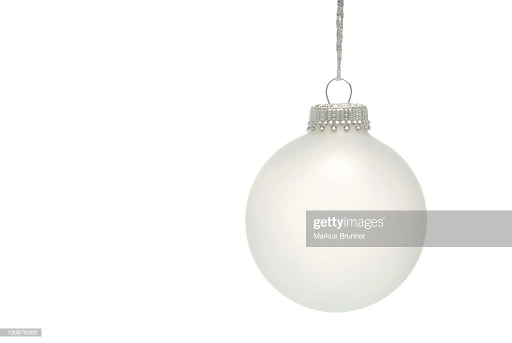 White christmas bauble stock photo getty images for White christmas baubles