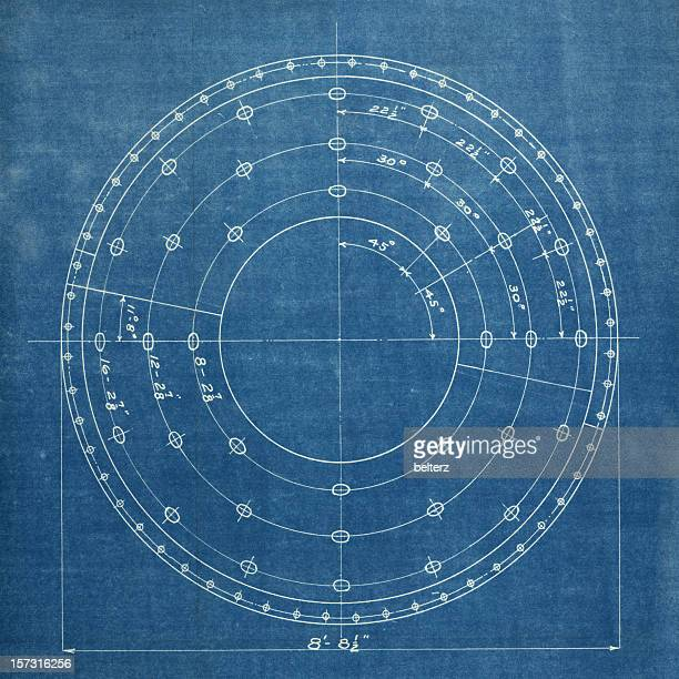 A white circular drawing on a blue background