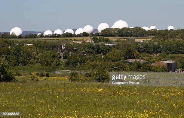 White circular radomes of satellite ground station RAF Menwith Hill North Yorkshire England UK