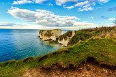 White cliffs at dorset coast ranging into emerald colored sea