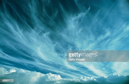 White clouds (cirrus) in blue sky : Stock Photo