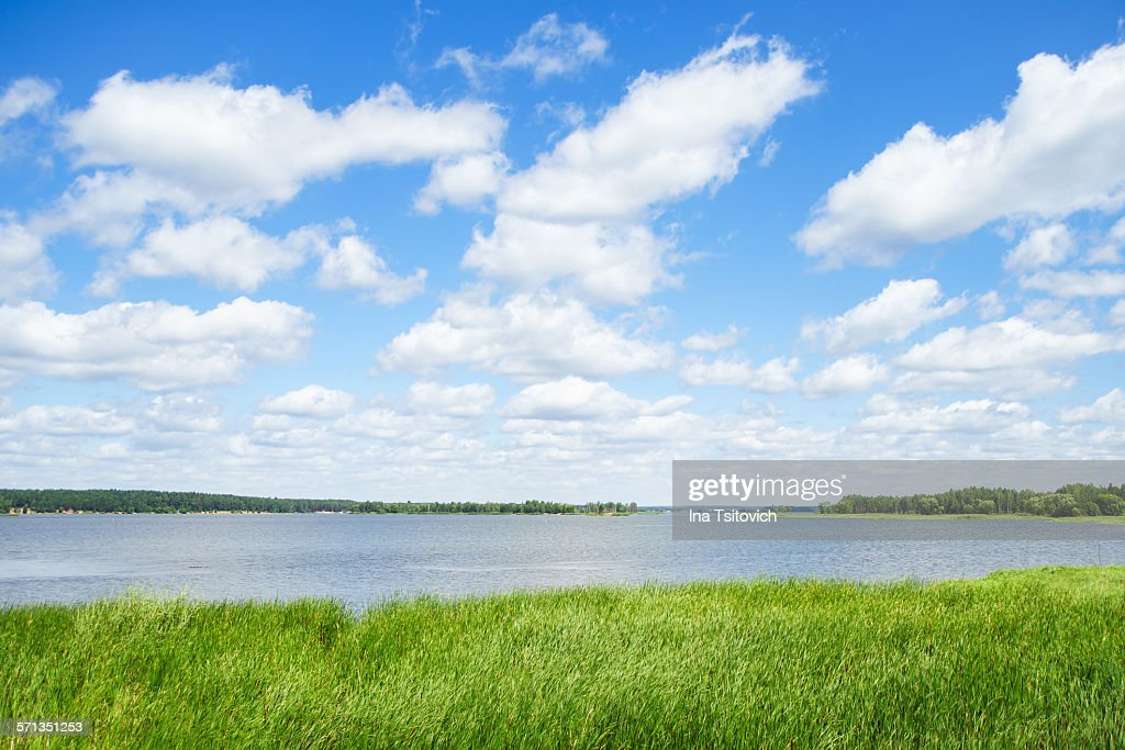 White clouds over the Vileyka reservoir, Belarus