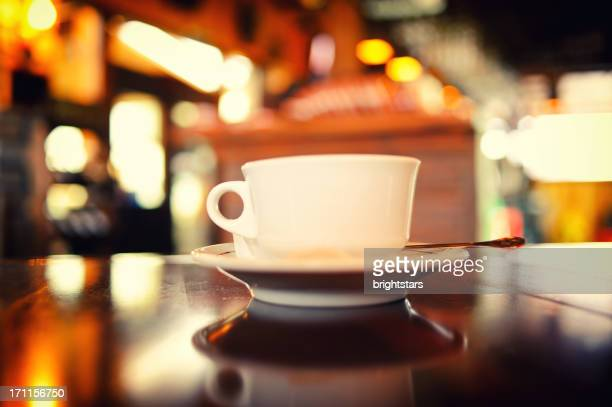 White coffee cup in a restaurant