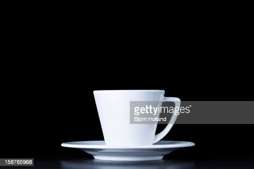 White coffee cup on black background : Stock Photo