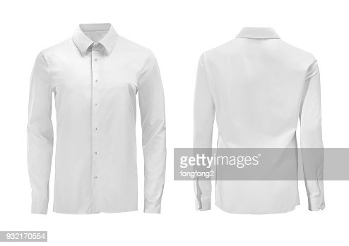 White color formal shirt with button down collar isolated on white : Stock Photo