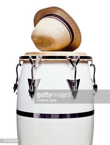 white conga and straw hat