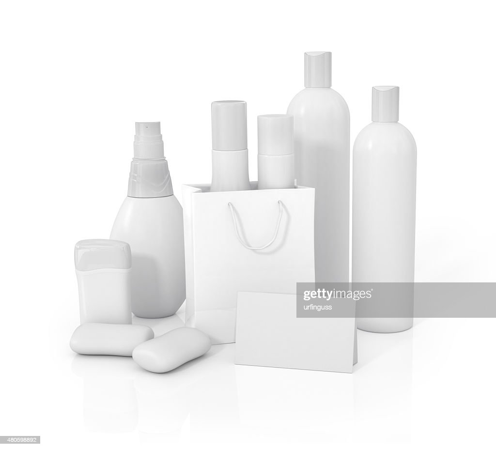 White Cosmetic containers isolated on white : Stock Photo