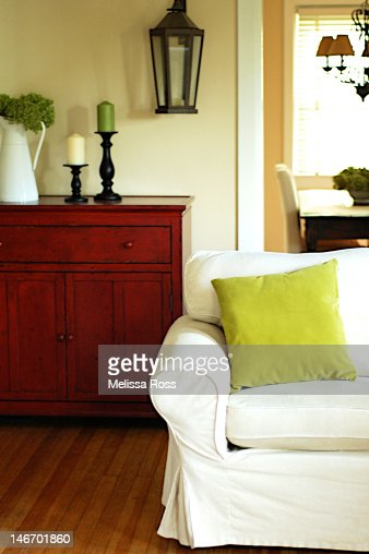 White couch in modern living room : Stock Photo
