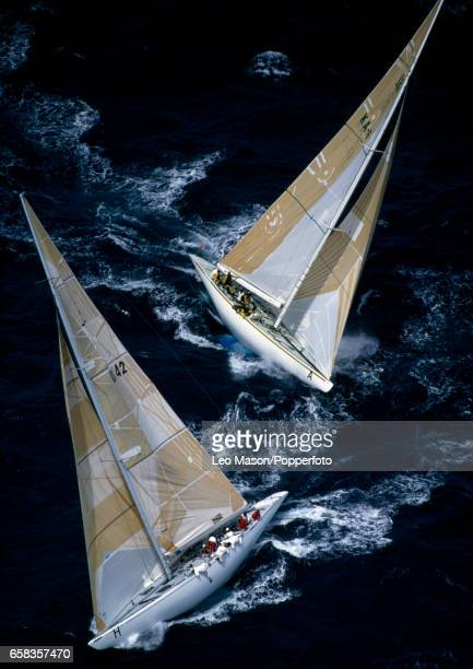 White Crusader of Great Britain and a challenger during the World 12 Metre Championships off Fremantle circa January 1987
